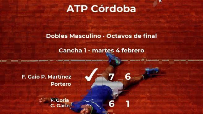 Gaio y Martinez Portero vencen a Coria y Garín y avanzan en Córdoba