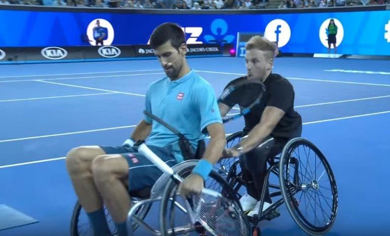 [VIDEO] Novak Djokovic jugó en silla de ruedas para honrar a su amigo
