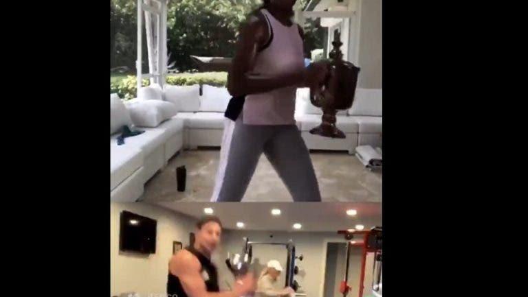 [VIDEO] Venus Williams y Rob Gronkowski entrenaron con sus trofeos