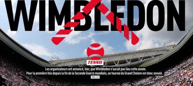 'L'Equipe' dedica su primera plana a la cancelación de Wimbledon