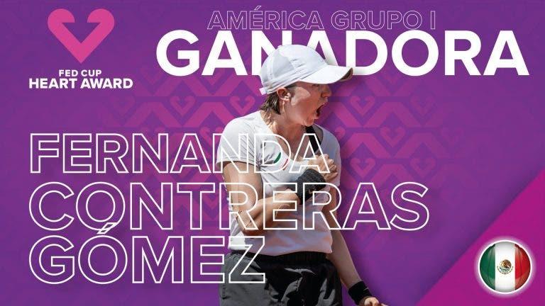 Fernanda Contreras se alza con el premio Corazón de la Fed Cup