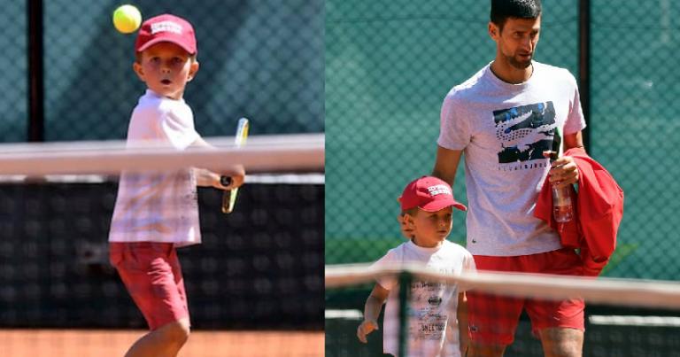 [FOTOS] Hijo de Djokovic también visitó las canchas de tenis en Belgrado