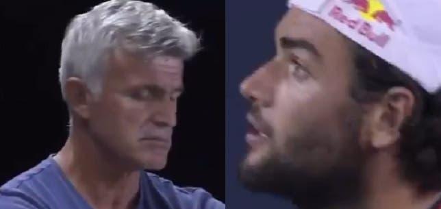 [VIDEO] Berrettini también perdió la paciencia con el padre de Tsitsipas