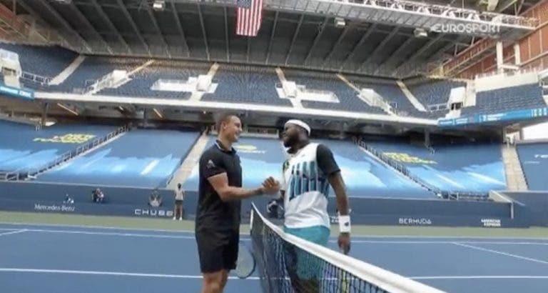 [VIDEO] Tiafoe y Fucsovics violan regla sanitaria en el US Open