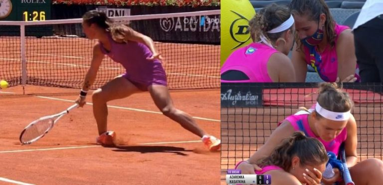 Kasatkina se tuerce el pie, se rinde y Azarenka mostró un espíritu deportivo